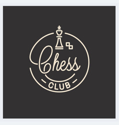 chess club logo round linear logo chess king vector image
