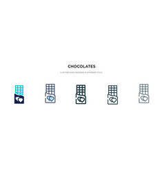 Chocolates icon in different style two colored vector