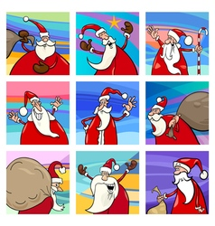 Christmas cartoon santa cards set vector