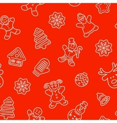 Christmas cookies flat line icons seamless pattern vector