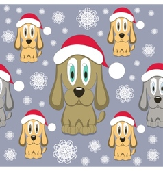 Christmas Dog Seamless Pattern vector image