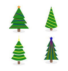 christmas tree collection with colored garlands vector image