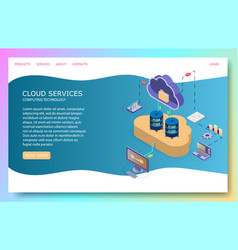 cloud services landing page website vector image