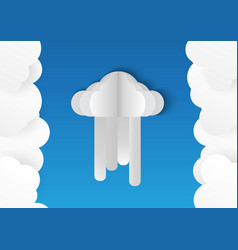clouds isolated on blue background in paper cut vector image