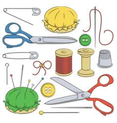 Color set of sewing supplies vector