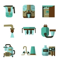 Colored flat icons for water filters vector