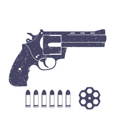 Compact revolver handgun and bullets vector