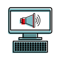 computer and megaphone marketing online vector image