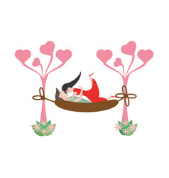 couple love hammock leisure image vector image