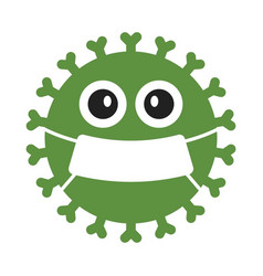 Cute green germ virus with mask vector