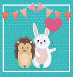 Cute rabbit and porcupine animal character vector