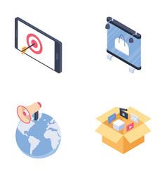 Digital advertising media channels set isometric vector