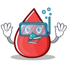 Diving blood drop cartoon mascot character vector