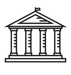 Education Temple Thin Line Icon vector image