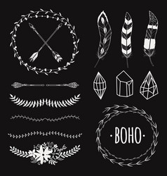 ethnic black and white set with arrows feathers vector image