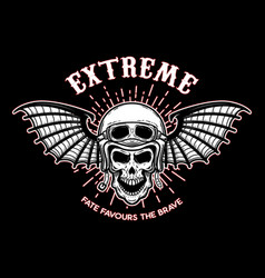 Extreme skull in motorcycle helmet with bat wings vector