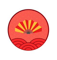 fan chinese new year logo isolated circle icon vector image