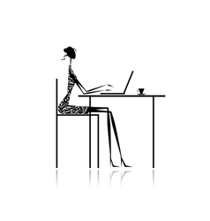 Fashion girl silhouette with laptop in cafe vector image