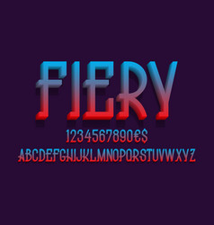 Fiery alphabet with numbers and currency signs 3d vector