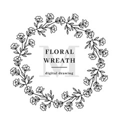 floral wreath flowers branch circle flower vector image