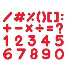 font design for numbers and signs in red color vector image