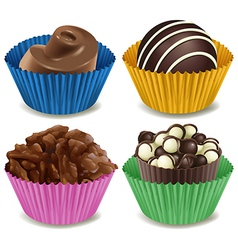 Four kinds of mouthwatering chocolates vector