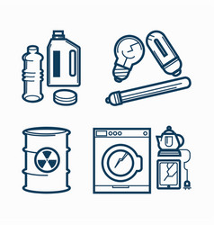 garbage wastes trash line icons set of vector image