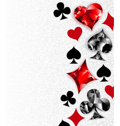 Gray background with polygonal playing cards vector
