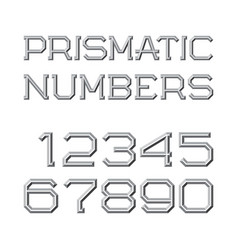 Gray faceted numbers prismatic retro font vector