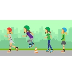 Group of roller skating vector