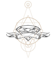 hand drawn diamond and ribbon outline isolated on vector image