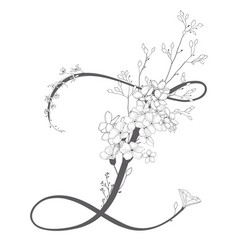 hand drawn floral z monogram and logo vector image