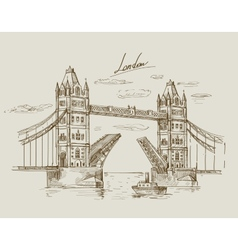 hand drawn Tower Bridge vector image