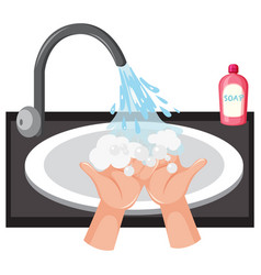 Hand washing in sink with soap vector