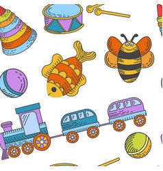Kid toys and children playthings collection for vector
