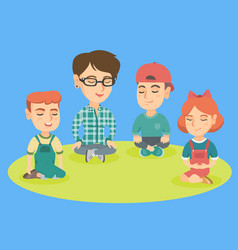 Kindergarten teacher and children meditating vector