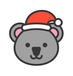 Koala wearing santa hat outline icon editable vector