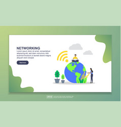 landing page template networking modern flat vector image