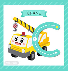 Letter c uppercase tracing crane vector