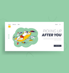 littering environment with trash landing page vector image