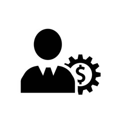 man head with dollar sign in a gear icon icon vector image