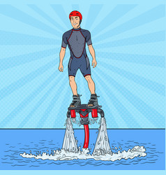 Man on flyboard extreme water sport pop art vector