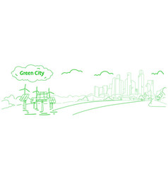 Modern eco city with wind turbines and solar vector