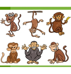 Monkeys cartoon set vector