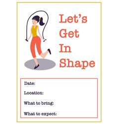 motivational gym class poster template women vector image