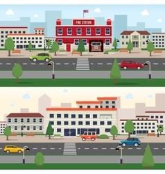 municipal buildings banner set vector image