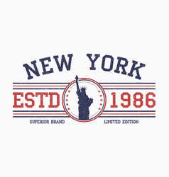 new york slogan t-shirt typography with liberty vector image