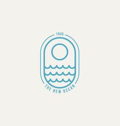 Ocean wave minimalist line art badge logo icon vector