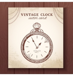 Old vintage pocket watch card vector image