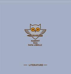 owl logo literature vector image
